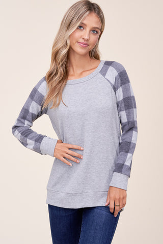 H Grey Checkered Long Sleeve