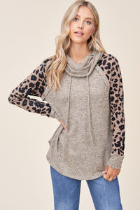 Leopard Print Cowl Neck Sweater