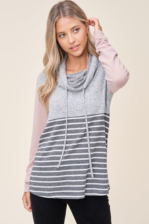 H. Grey Draw String Cowl Neck