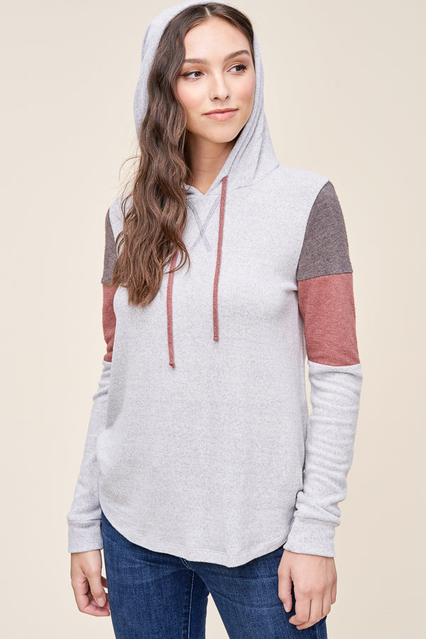 H.Grey and Brick Hoodie Long Sleeve