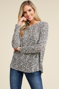 Black Round Neck Puff Textured Long Sleeve Top