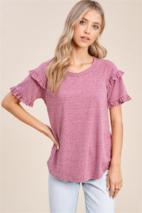 Burgundy Ruffle Detail Top