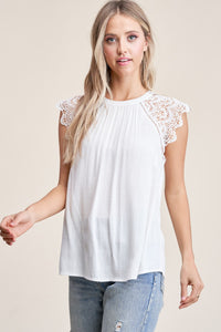 White Lace Shoulder Sleeve Top