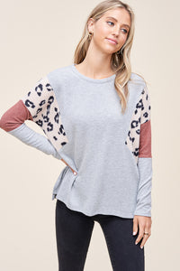H. Grey Two Tone Long Sleeve Top