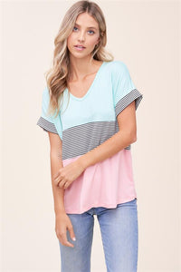 Mint and Peach Color Block Top