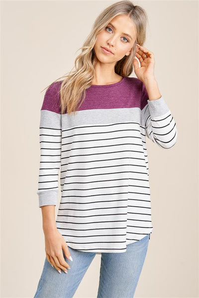 Berry Striped 3/4 Sleeve Top