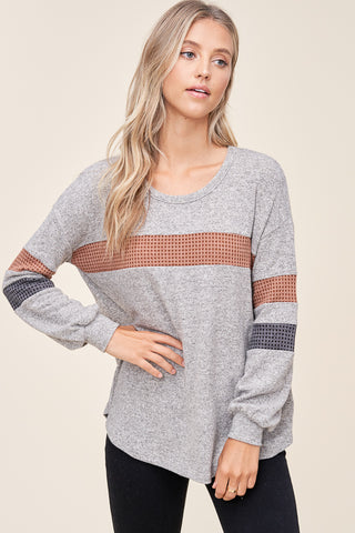 Staccatto Long Sleeve Grey Striped