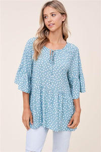 Blue Spotted 3/4 Sleeve Blouse