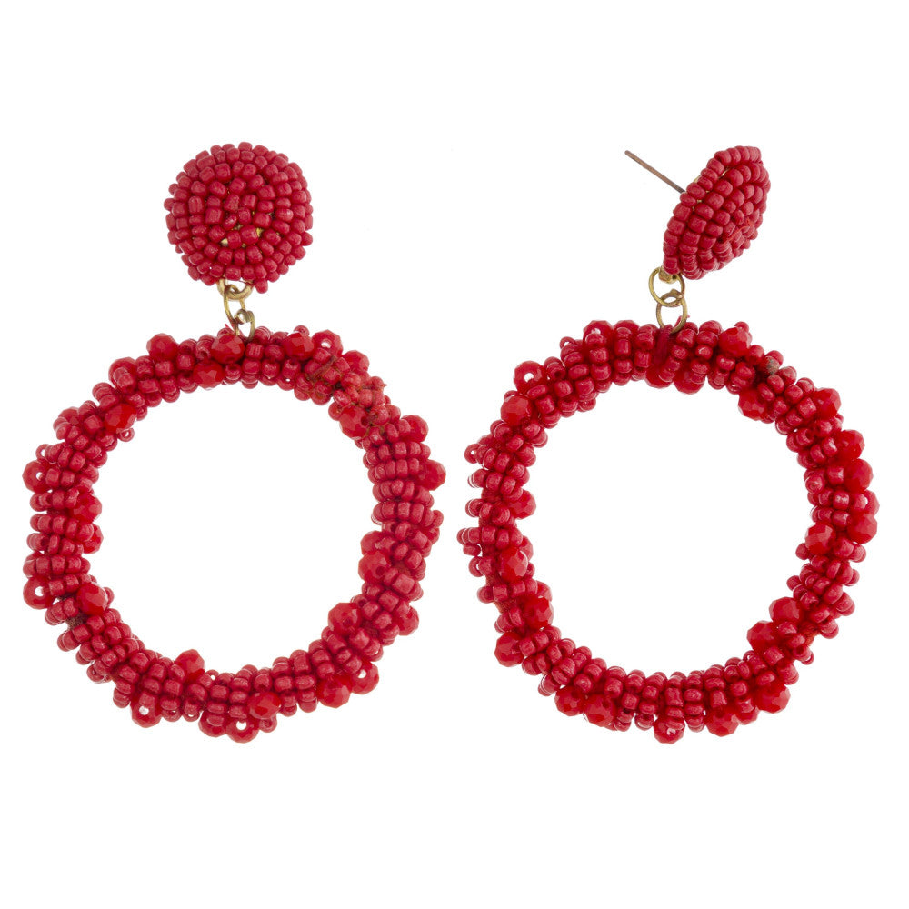 Red Thin Circle Earrings