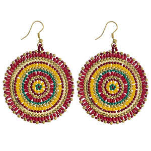 Circle Bead Weave Earrings