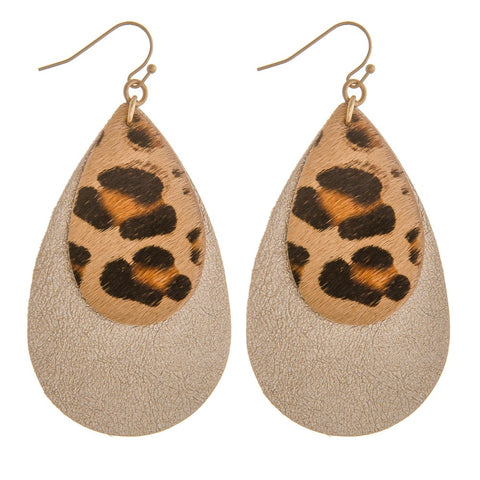 Bi Layer Leopard Earrings