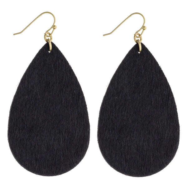 Simple Teardrop Leather Earrings