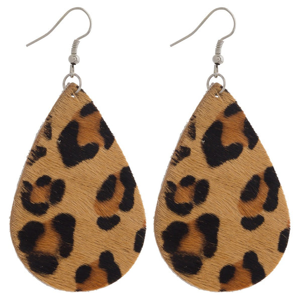Animal Print Faux Leather Earrings