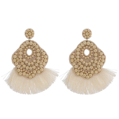 Cream Bead Earrings
