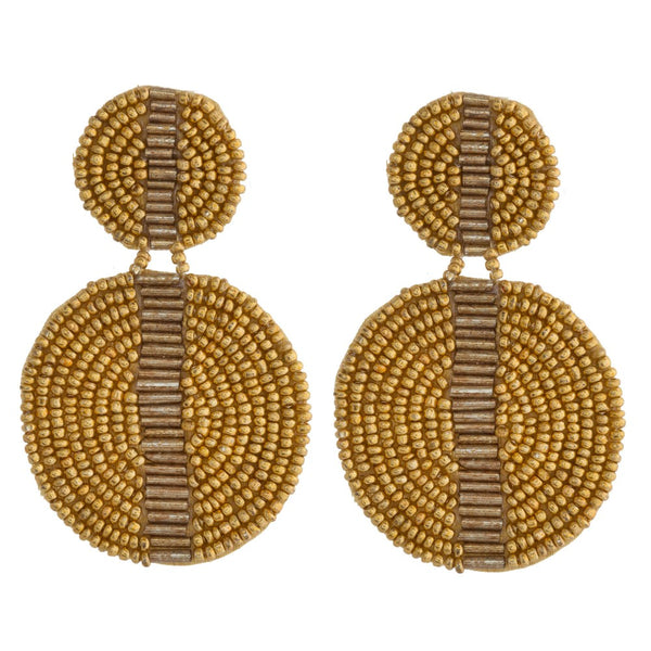 Circle Beaded Straight Earrings