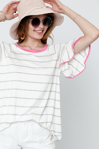 Dusty Pink & Ivory Bell Short Sleeve Top