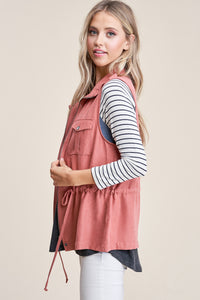 Rose Zipper Vest Jacket