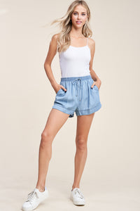 Denim Wash Elastic Waist Tie Belt Short