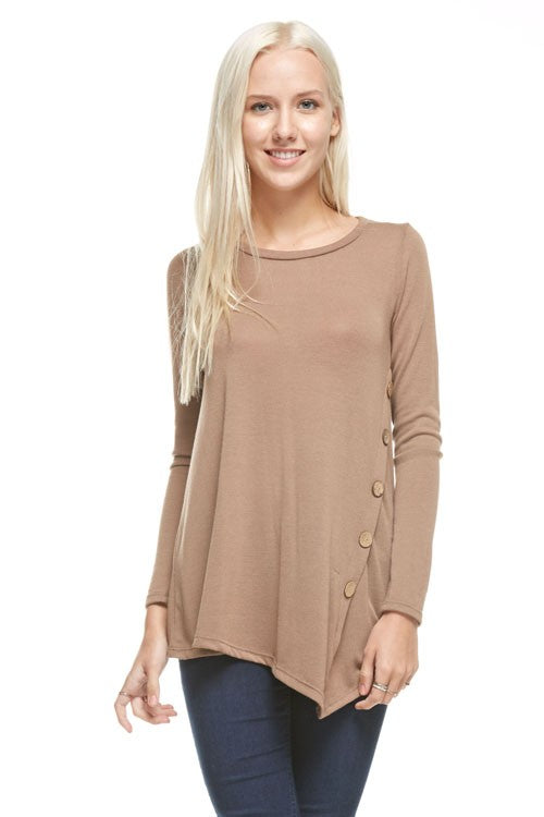 Taupe Side Button Tunic