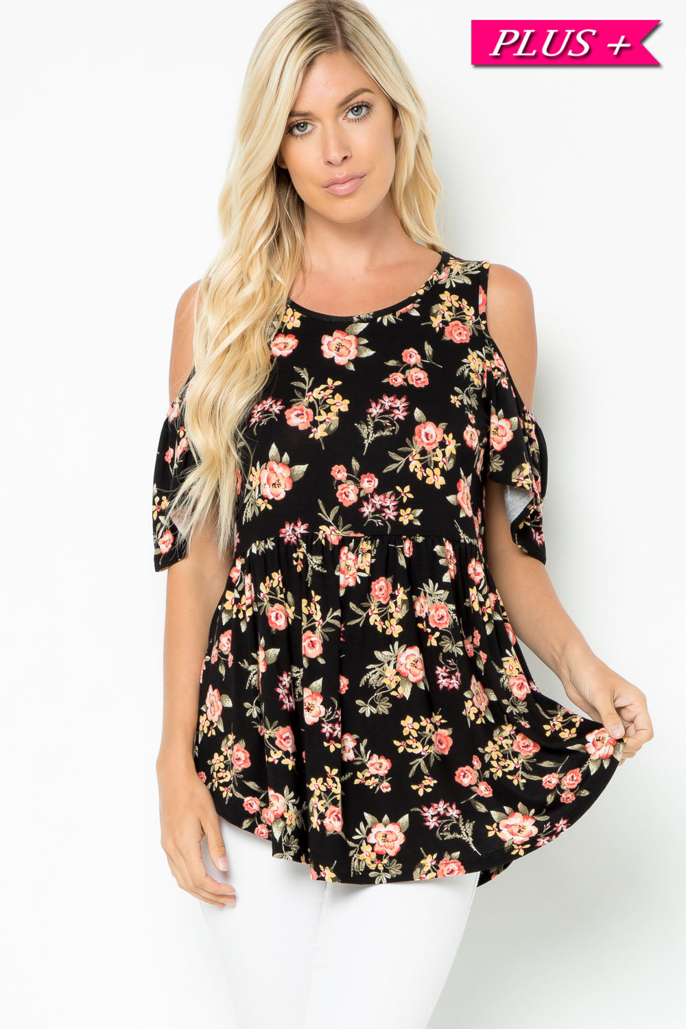 Floral Cold Shoulder Baby Doll Top