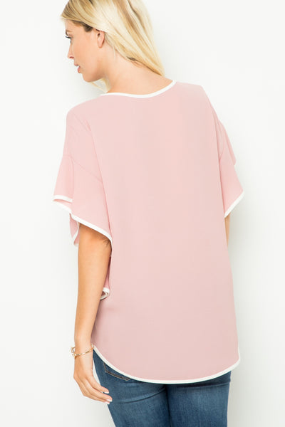 Dusty Rose Bell Sleeve Top