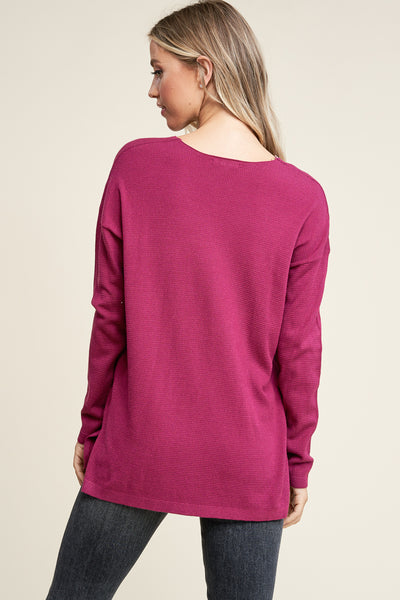 Magenta Super Soft Pull Over Sweater