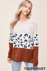 Rust Animal Color Block Sweater