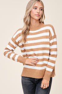 Camel and Ivory Striped Sweater