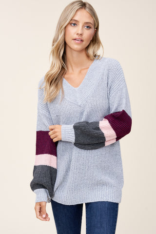 H.Grey and Plum Balloon Sleeve Sweater
