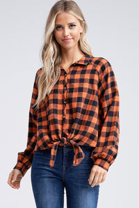 Rust Plaid Button Up Tie Top