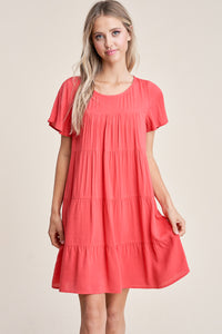 Solid Coral Short Sleeve Dress