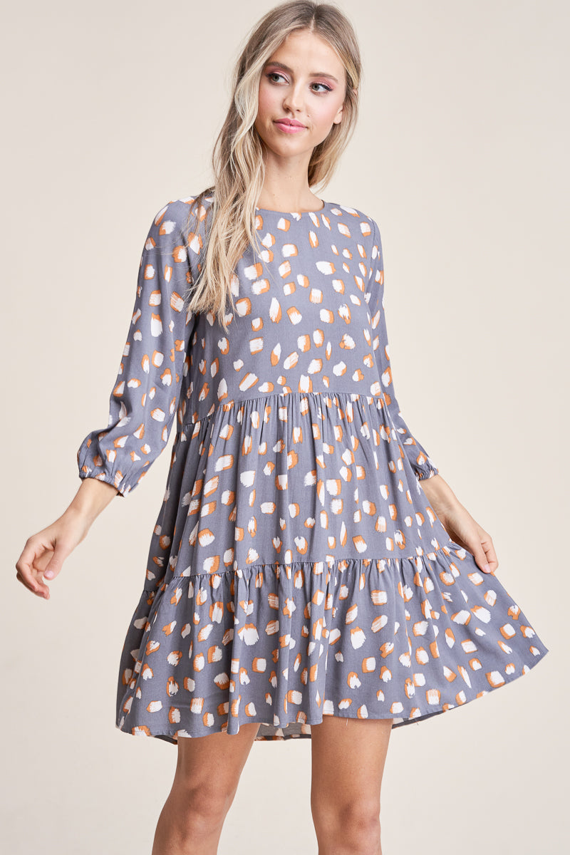 Round Neck 3/4 Sleeve Dress