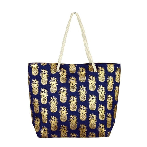 Navy & Gold Pineapple Beach Bag