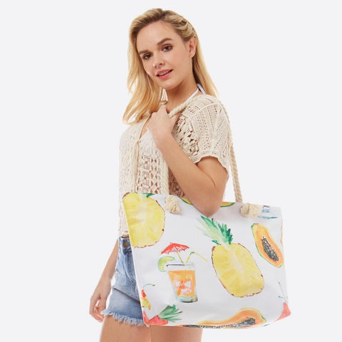 White Summertime Beach Bag