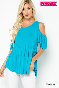 Solid Cold Shoulder Baby Doll Top
