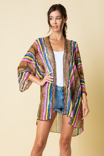 Color & Animal Print Stripe Kimono
