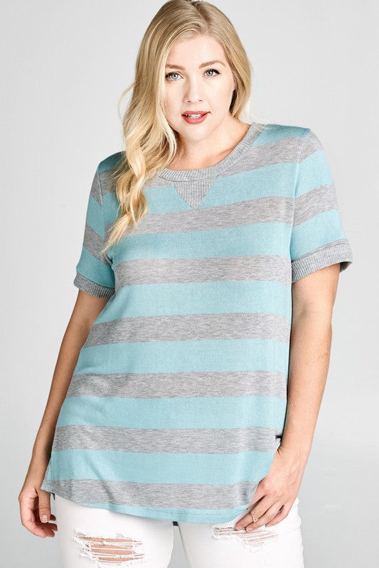 Curvy Grey & Blue Striped Top