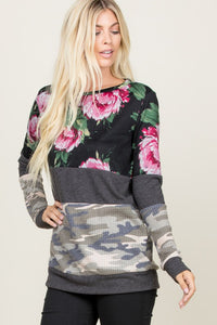 Black Camo & Floral Long Sleeve Top