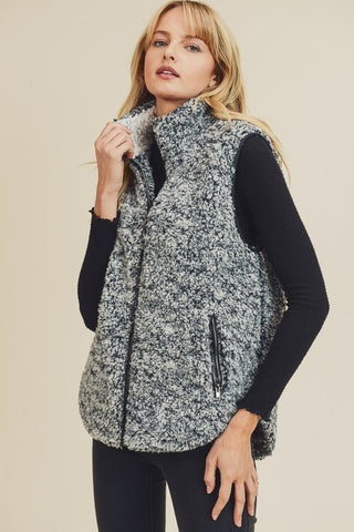 Black and Ivory Teddy Vest