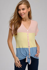 Color Block Knotted Top