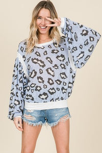 Blue Leopard Print Long Sleeve Top