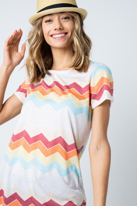 Multicolor Ivory Chevron Top
