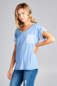 Indigo Stripe Sleeve & Pocket Top