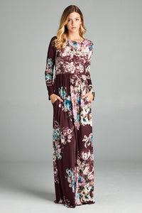 Burgundy Floral Long Dress