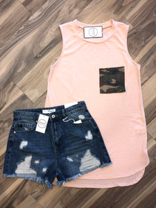 Dusty Pink and Camo Tank