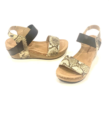 Black & Beige Wedge Sandal