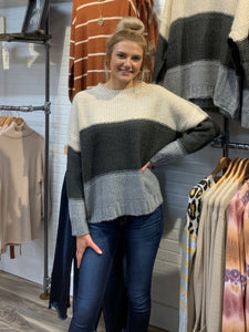 Taupe Charcoal Color Block Sweater