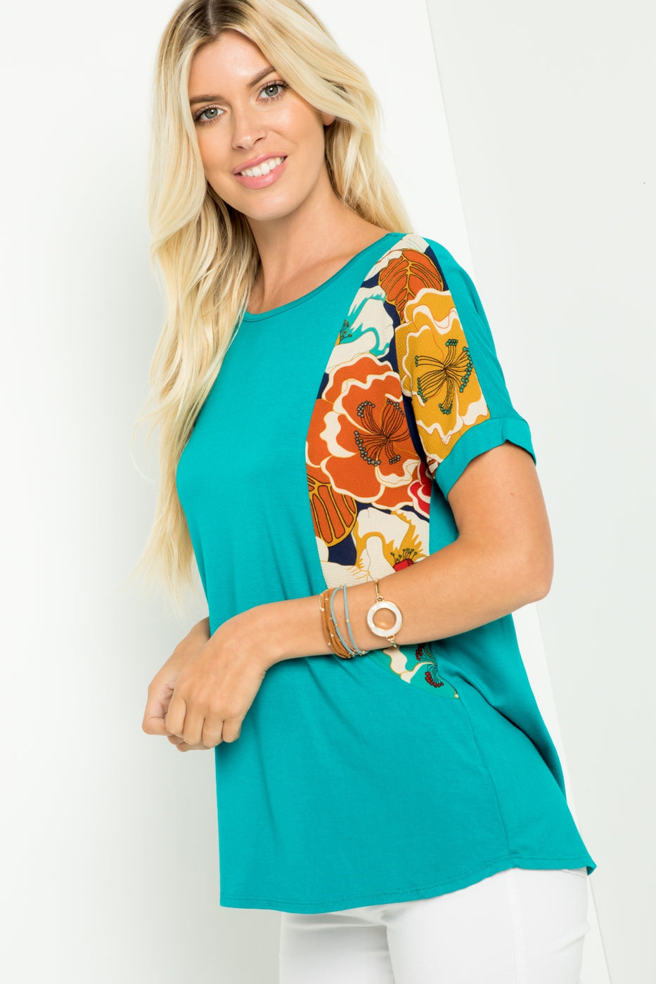 Turquoise Floral Sleeve Top