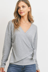 H Grey Ribbed Side Tied Top