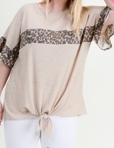 Curvy Taupe & Leopard Tie Front Top